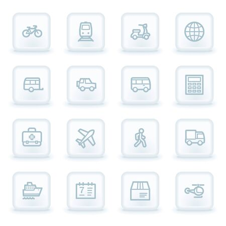web buttons: Transport web icons,  white square buttons Illustration