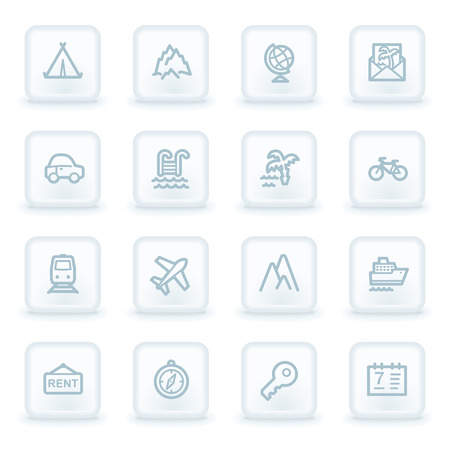Travel web icon set 1, white square buttons Vector