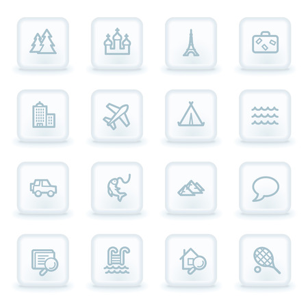 Travel web icon set 2, white square buttons Vector