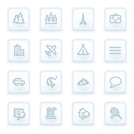 web 2: Travel web icon set 2, white square buttons