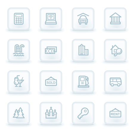 square buttons: Travel web icon set 4, white square buttons Illustration