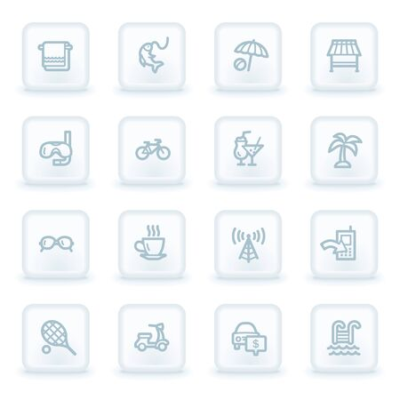 Vacation web icon set 2,  white square buttons Vector