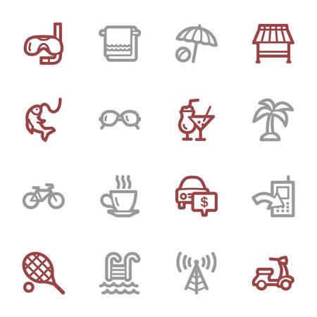 Vacation web icons set Vector