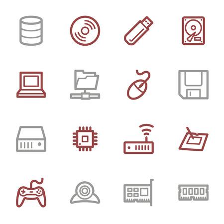 mouse pad: Computer components web icons set