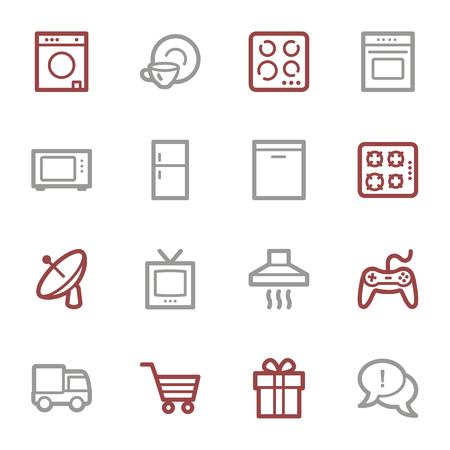 Home appliances web icons set Vector