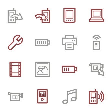 photo printer: Mobile content web icons set Illustration