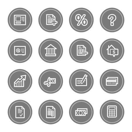 Banking web icons, grey circle buttons photo