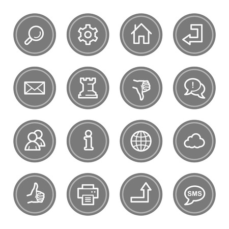 Web & internet icon set 2, grey circle buttons photo
