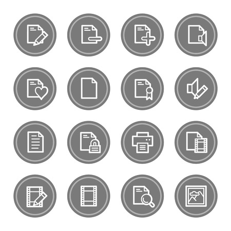 safe and sound: Document web icon set 1, grey circle buttons