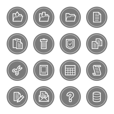 Document web icon set 2, grey circle buttons photo