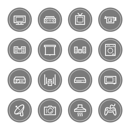 Home Appliance web icons, grey circle buttons photo