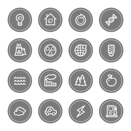 bio diesel: Green ecology web icon set 1, grey circle buttons