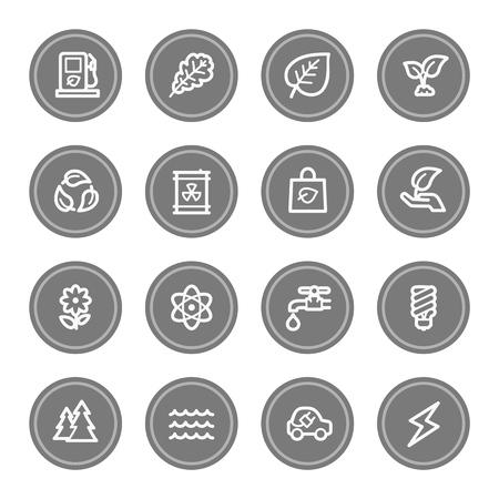 Green ecology web icon set 3, grey circle buttons photo