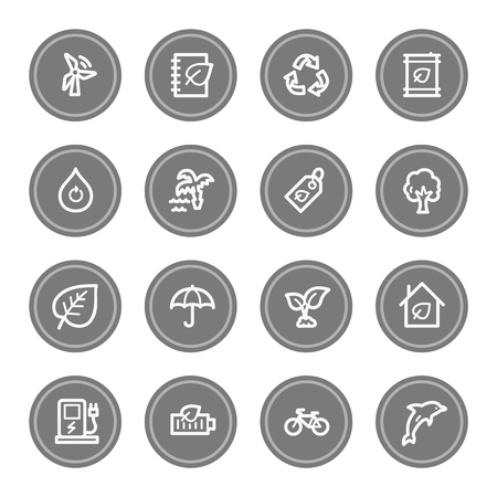 Green ecology web icon set 4, grey circle buttons photo