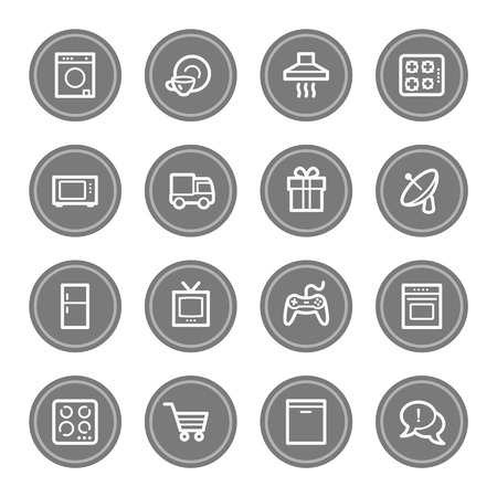 home appliances: Home appliances web icons, grey circle buttons