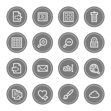 viewer: Image viewer web icons, grey circle buttons