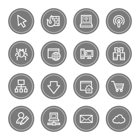 bugs shopping: Internet web icons, grey circle buttons