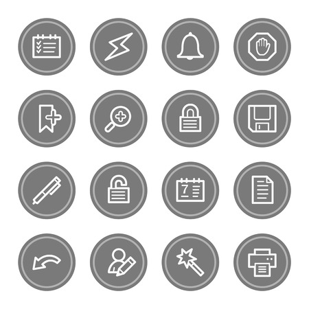 scheduler: Scheduler web icons, grey circle buttons Stock Photo