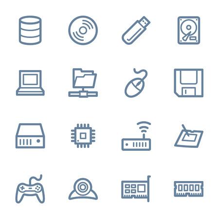 components: Computer components web icons set