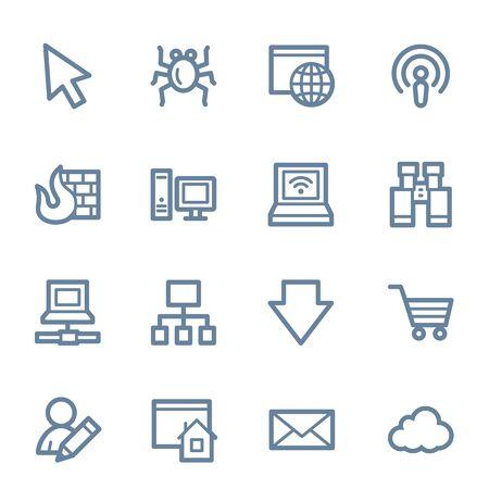 bugs shopping: Iconos de la web de Internet conjunto Vectores