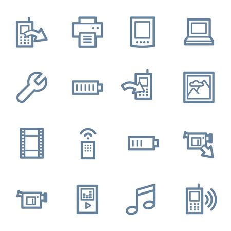 web icons: Mobile content web icons set Illustration