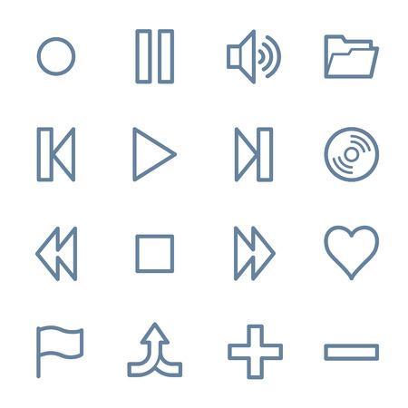 web icons: Media player web icons set Illustration