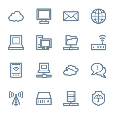 클라우드 컴퓨팅 및 인터넷 아이콘을 설정 일러스트