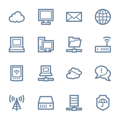 Cloud computing & internet icons set Çizim