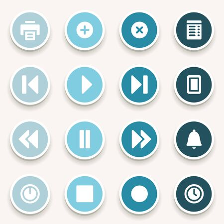 media player: Media player web icons set Illustration