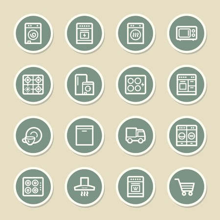 kitchen appliances: Kitchen Appliances Web Icons Illustration