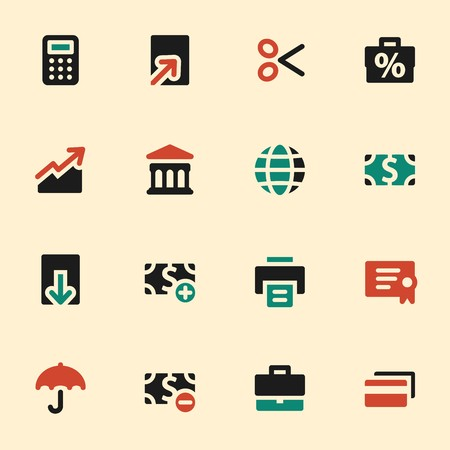 global finance: Finance web icons set. Mobile screen symbols.