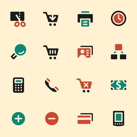 internet user: Shopping web icons set. Mobile screen symbols.