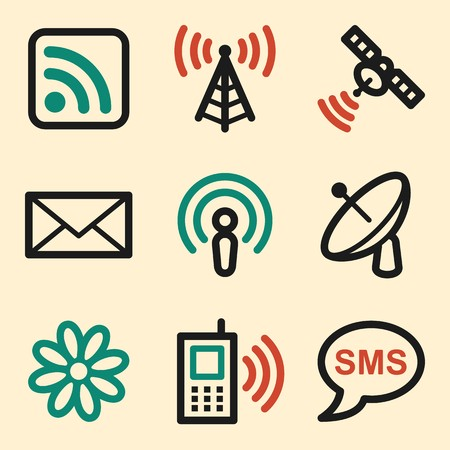 access point: Communication web icons, wireless and smartphone, sms and mail, vector stock signs Illustration