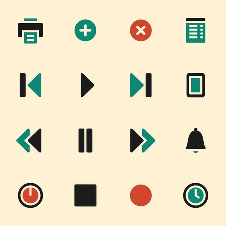 media player: Media player web icons set. Mobile screen symbols.