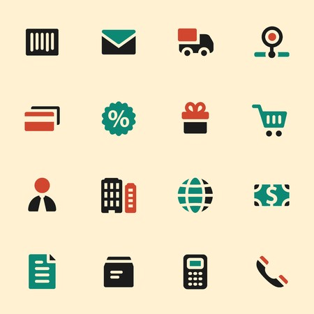scheduler: Shopping web icons set. Mobile screen symbols.