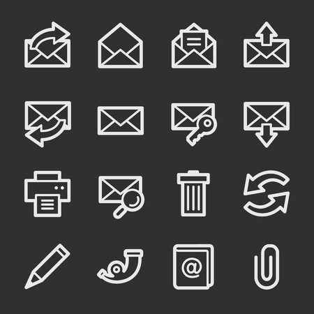 web: Email web icons set