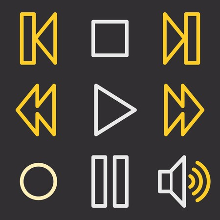 web: Media player web icons Illustration