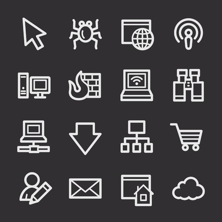 web: Internet web icons set Illustration