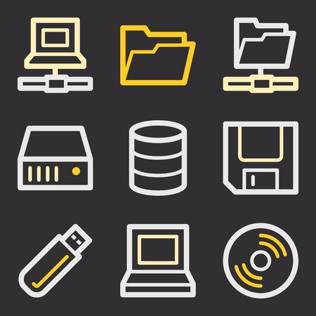 fdd: Database web icons set. Software and computers mobile symbols.