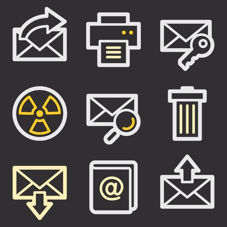 webmail: E-mail and documents web icons set. Office and CRM mobile symbols.