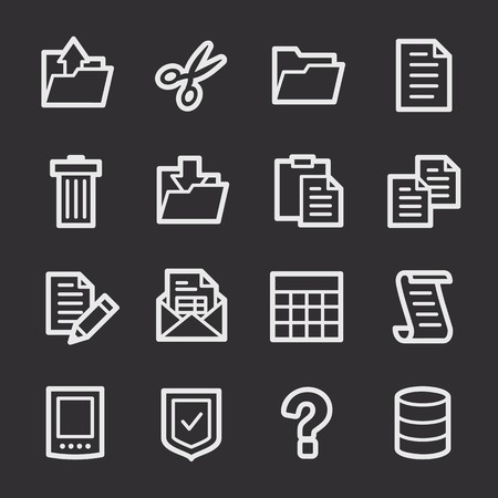 web: Document web icons set