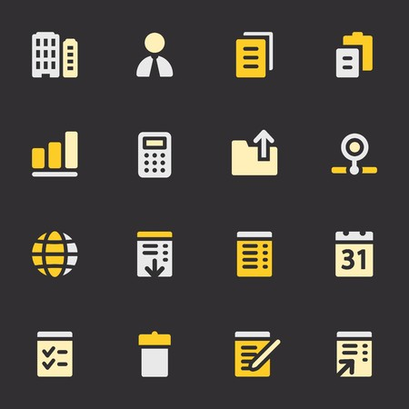 pictogram people: Documents web icons set. Office and CRM mobile symbols.