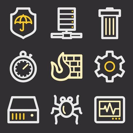 adware: Internet web icons set. Service mobile symbols.