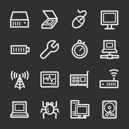 wireless lan: Computer components web icons set