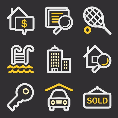 real tennis: Real estate mobile icons, infographics symbols.
