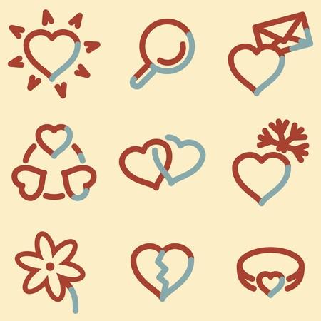 icq: Love icons, light blue contour Illustration