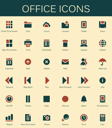 thumbnail: Back office services and documents tools icons. Modern vector pictograms