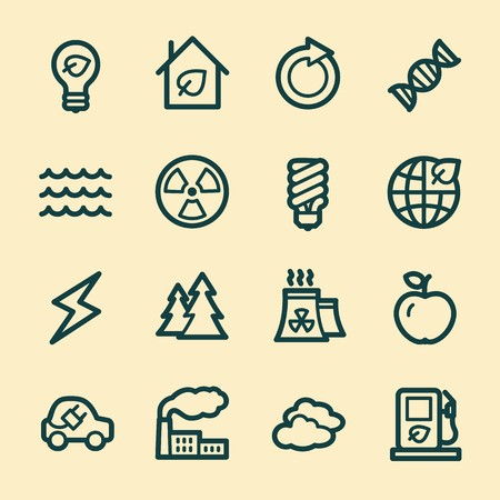 eco icons: Ecology web icons.  Green technology, environment protection and recycling symbol, vector signs