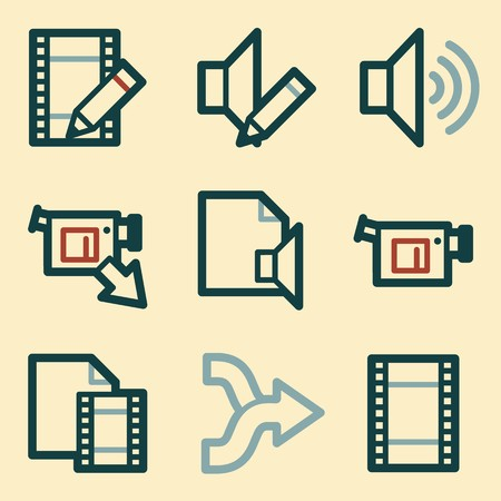 moble: Audio video moble icons, sound and cinema signs. Illustration