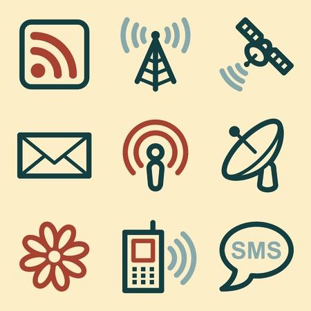 mobile communication: Communication web icons set. Electronics mobile symbols.